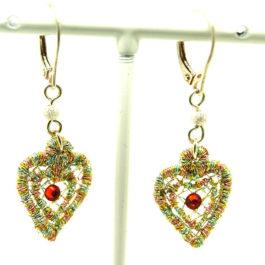 Boucles d'oreilles pendantes cœurs – dormeuses en argent 925